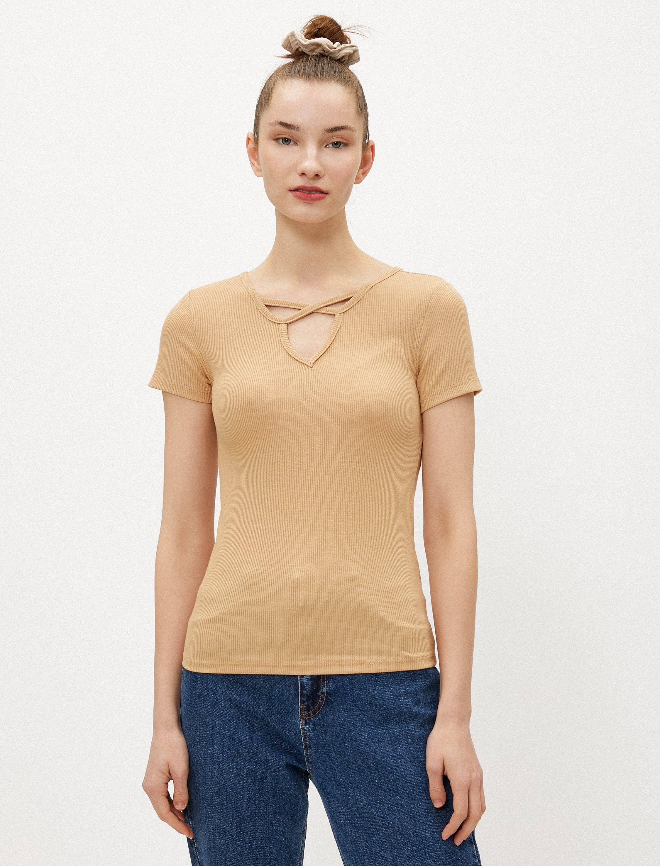 Lace Front Tee in Tan