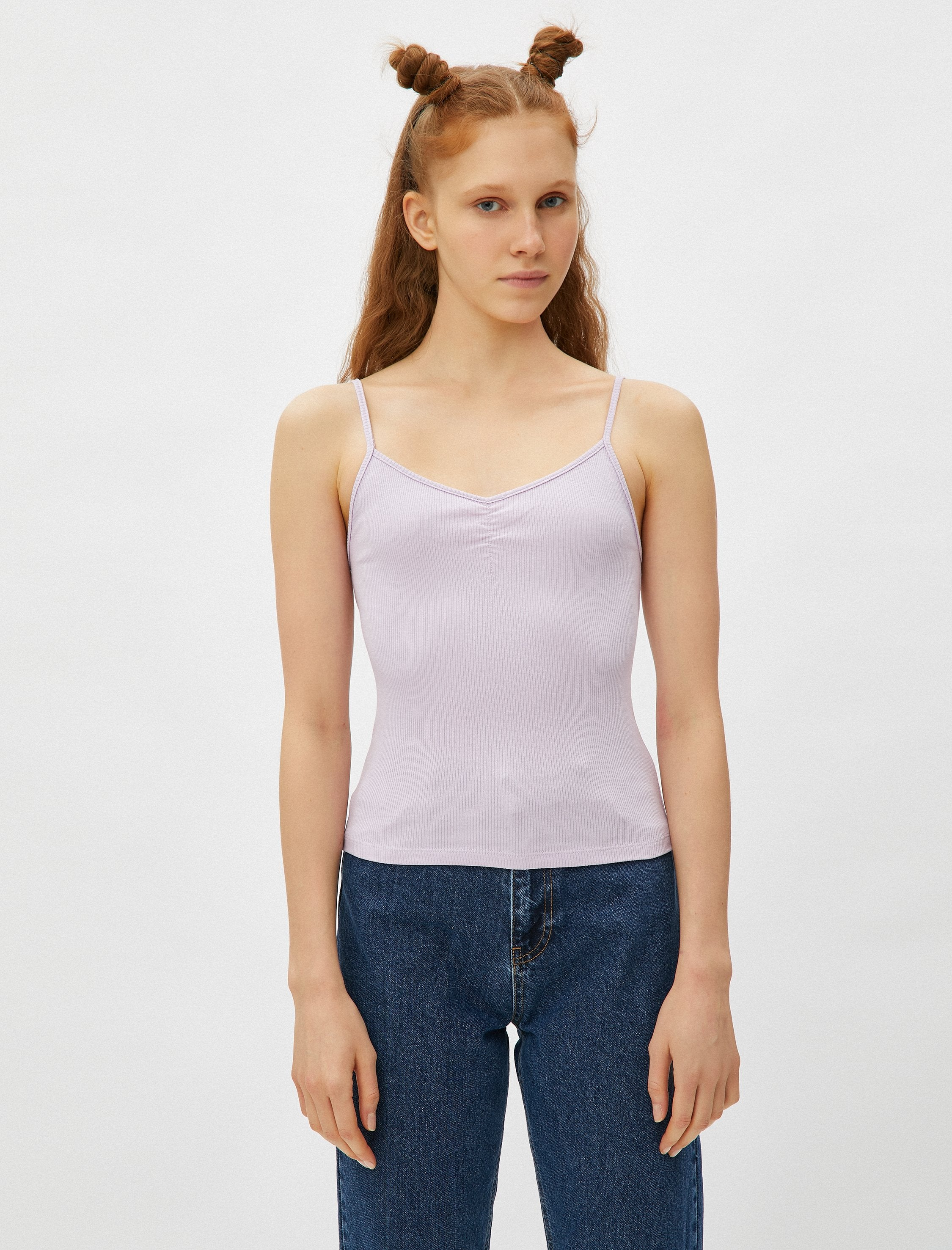 Ruched Ribbed Cami in Lilac