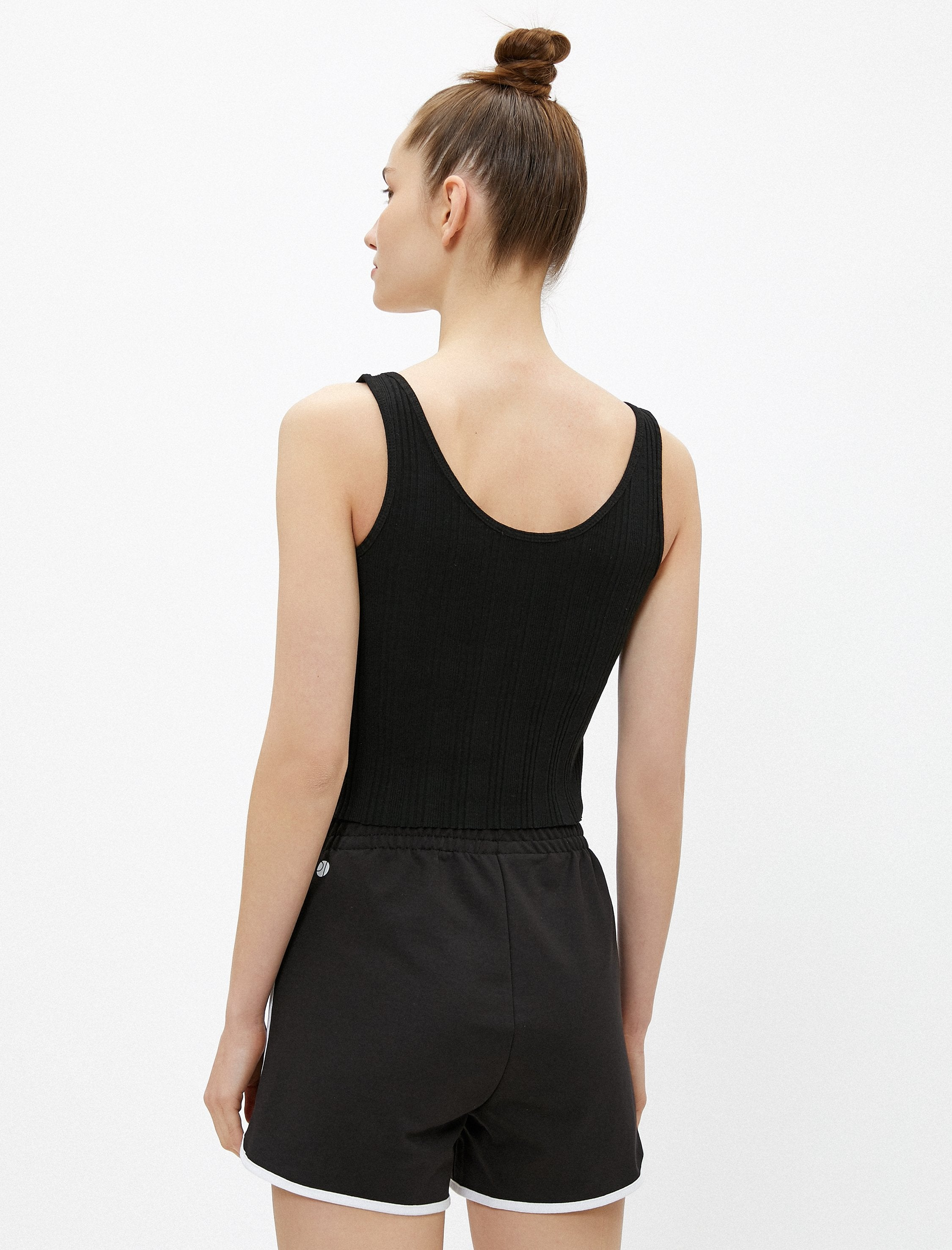 Button Front Tank in Black