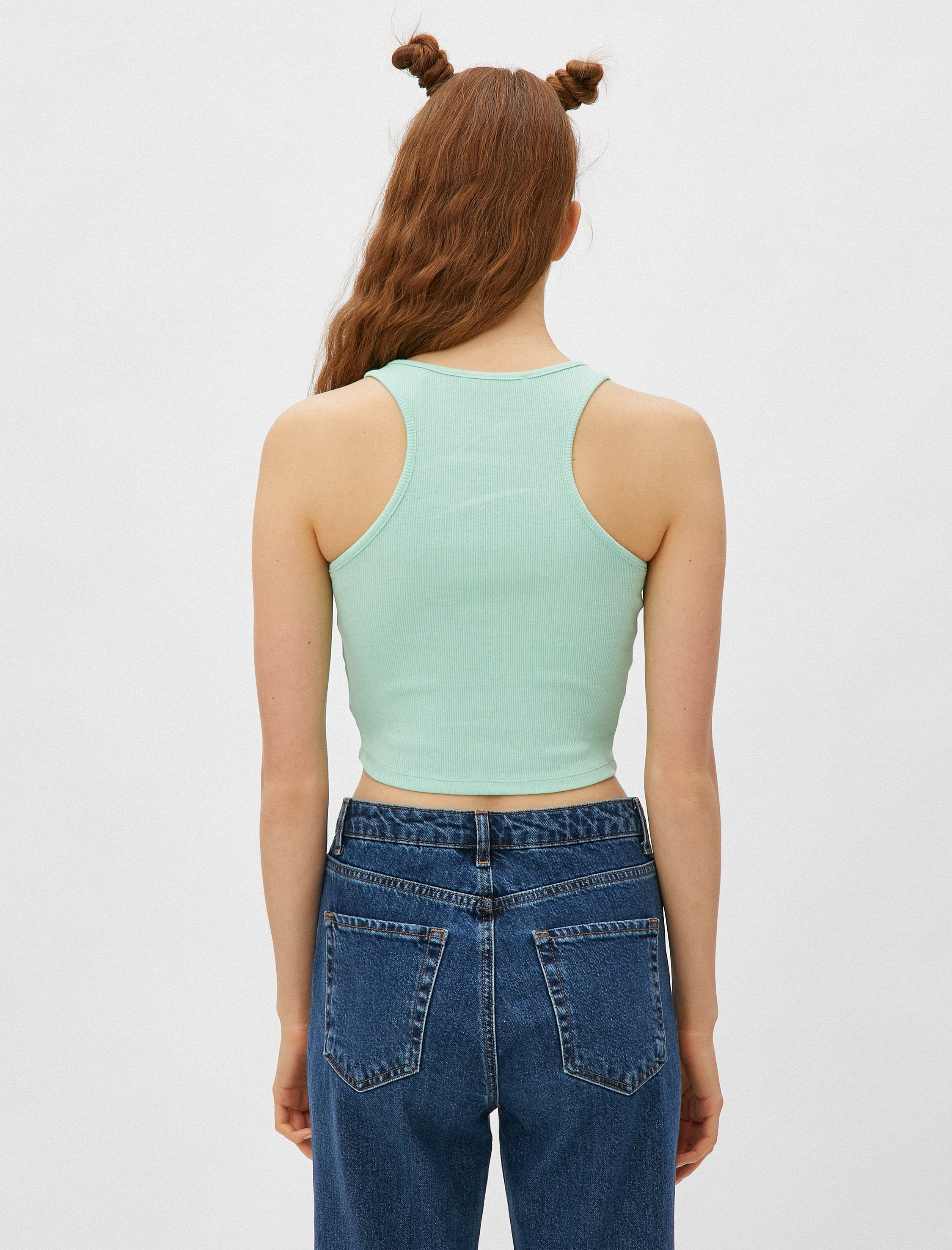 High Neck Crop Tank in Mint
