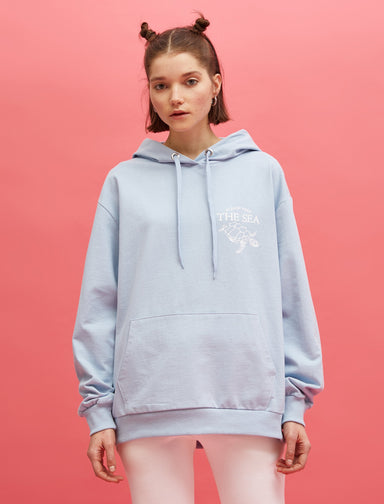 Oversized Graphic Hoodie in Light Blue