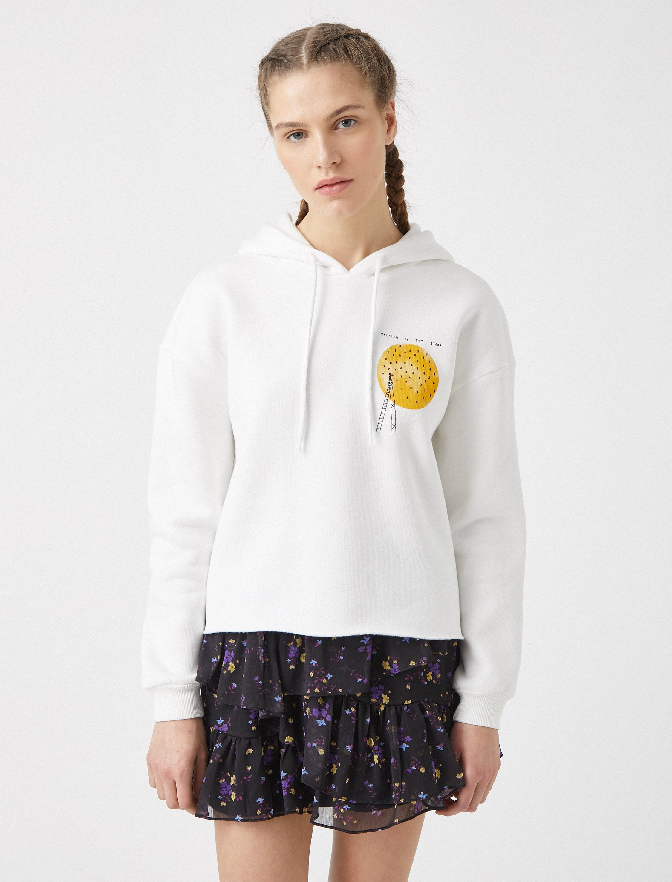 Cropped Graphic Hoodie in White