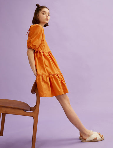 Puff Sleeve Mini Dress in Orange