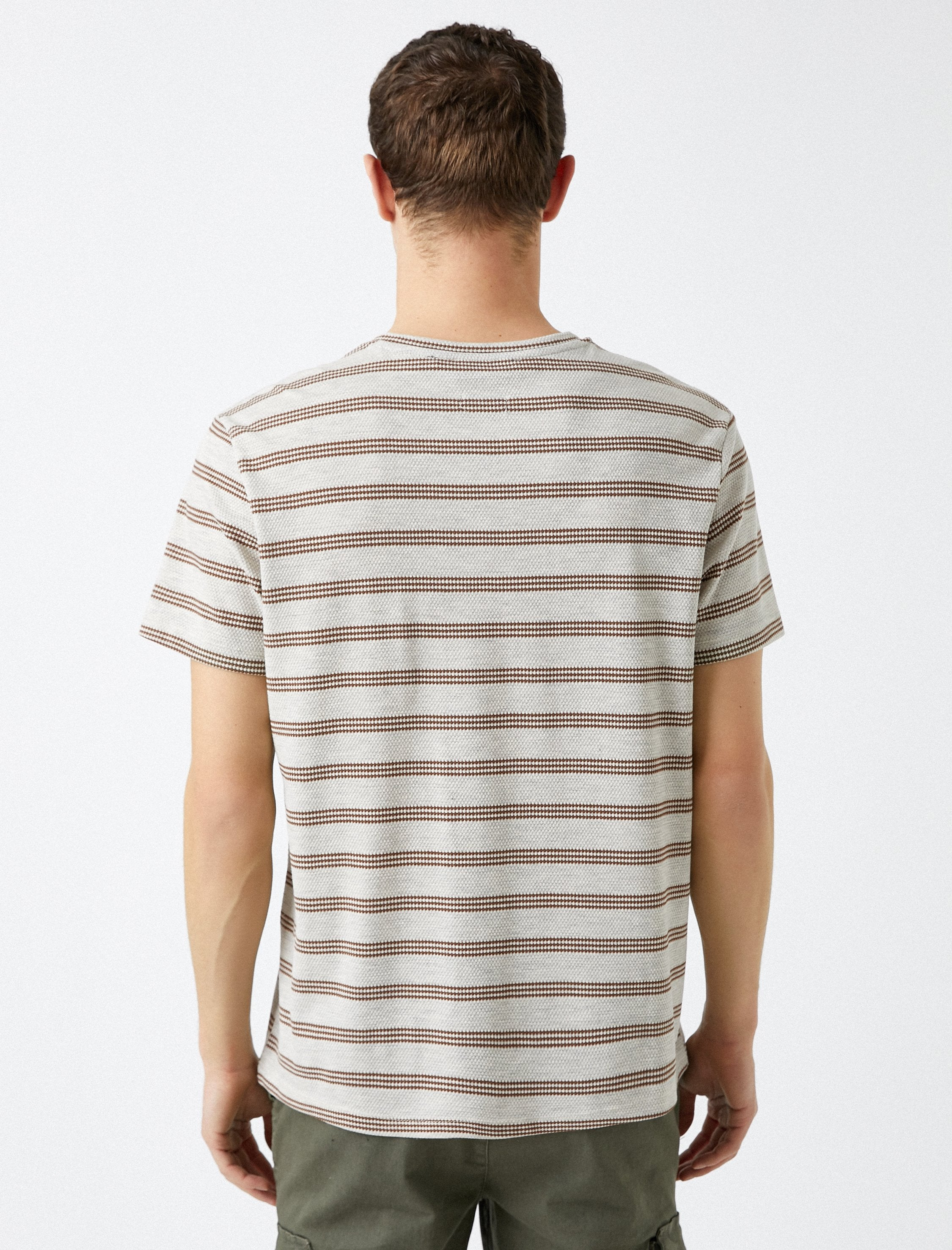 Striped Honeycomb Tshirt in Tan