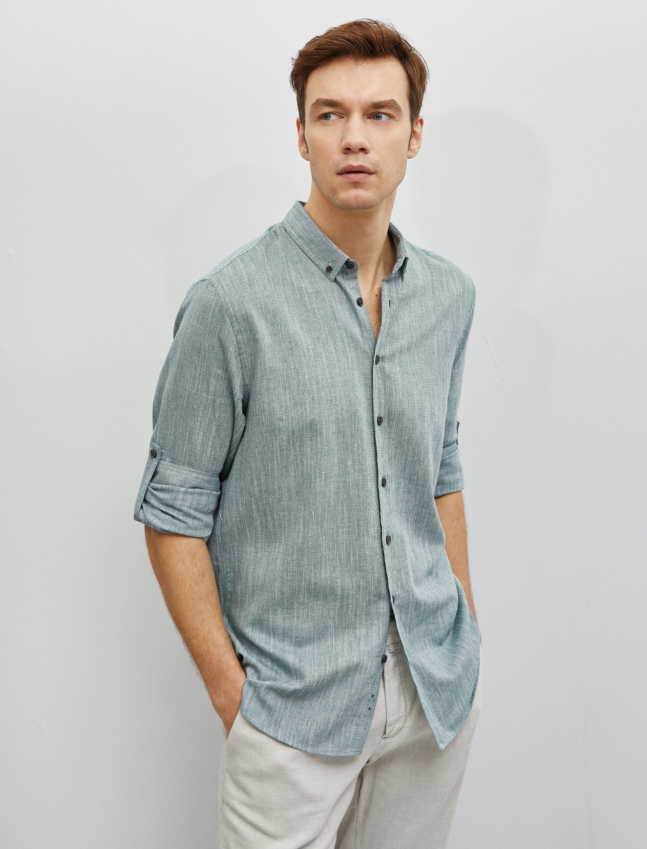 Textured Twill Shirt in Green
