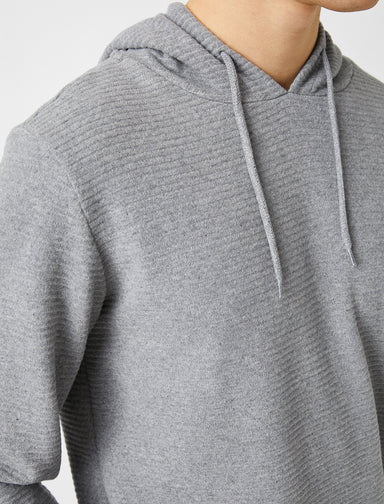 Basic Textured Hoodie in Gray