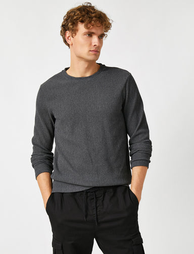 Textured Crew Neck Jumper in Charcoal