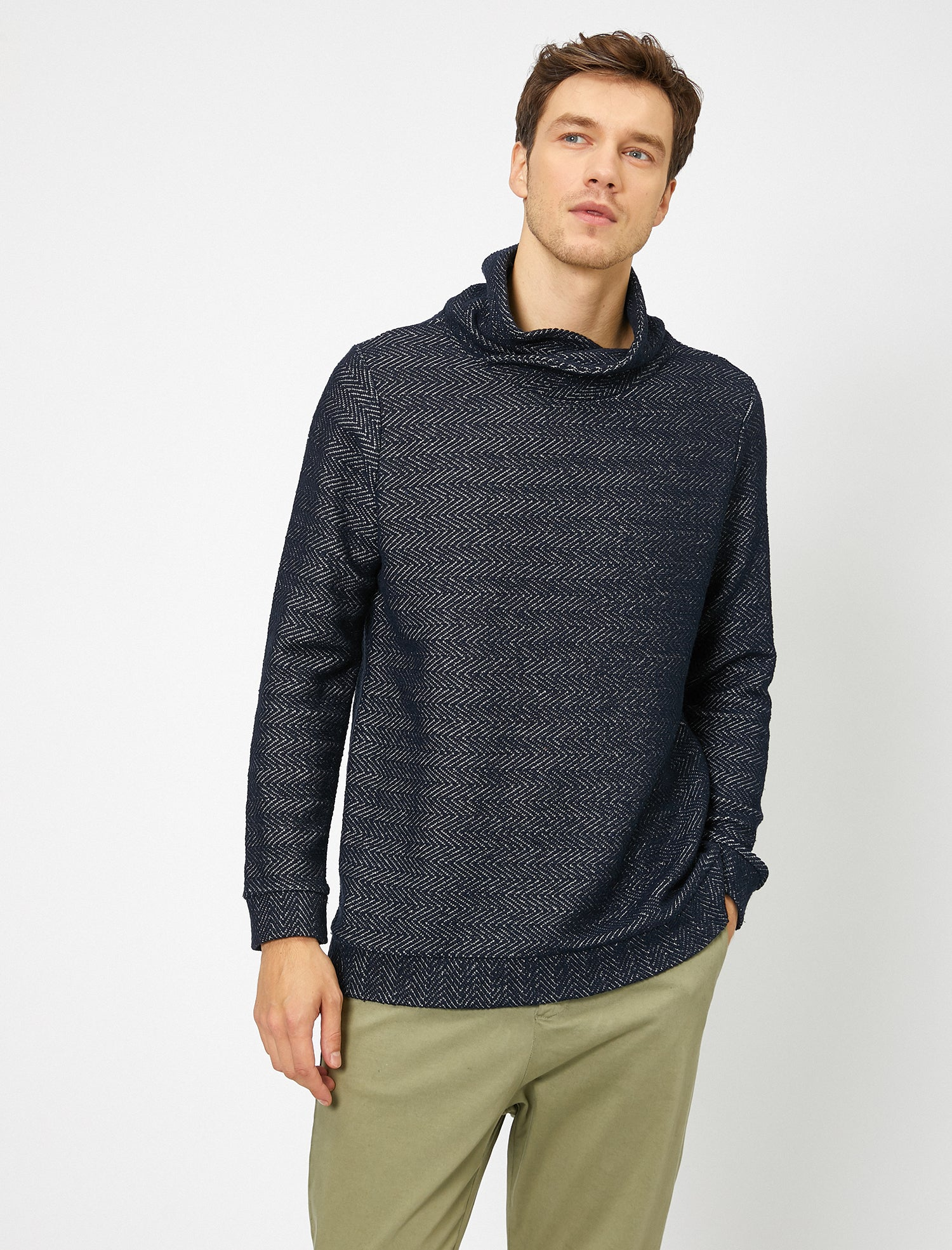 Textured Shawl Collar Sweater in Navy
