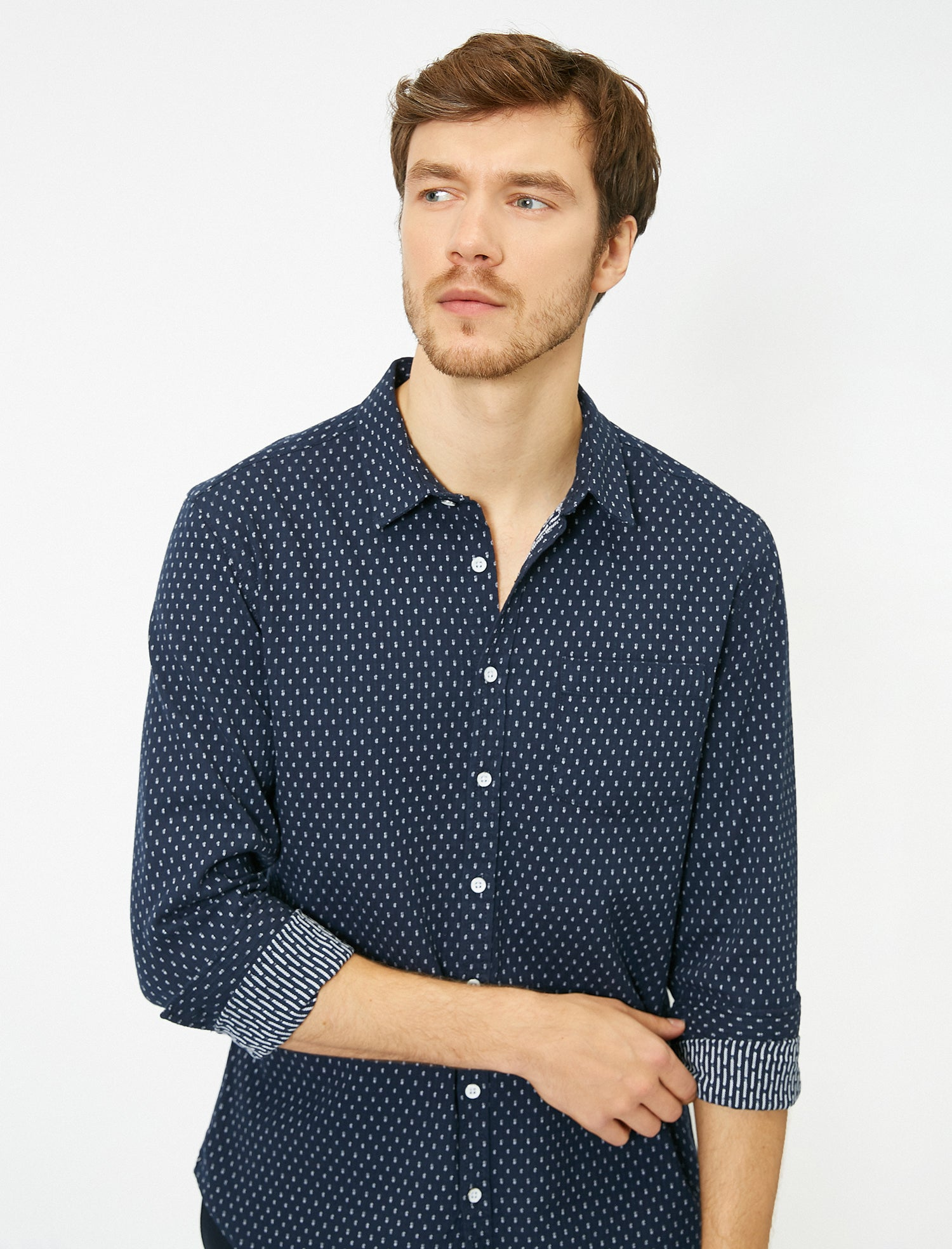 Patterned Heavy Shirt in Navy