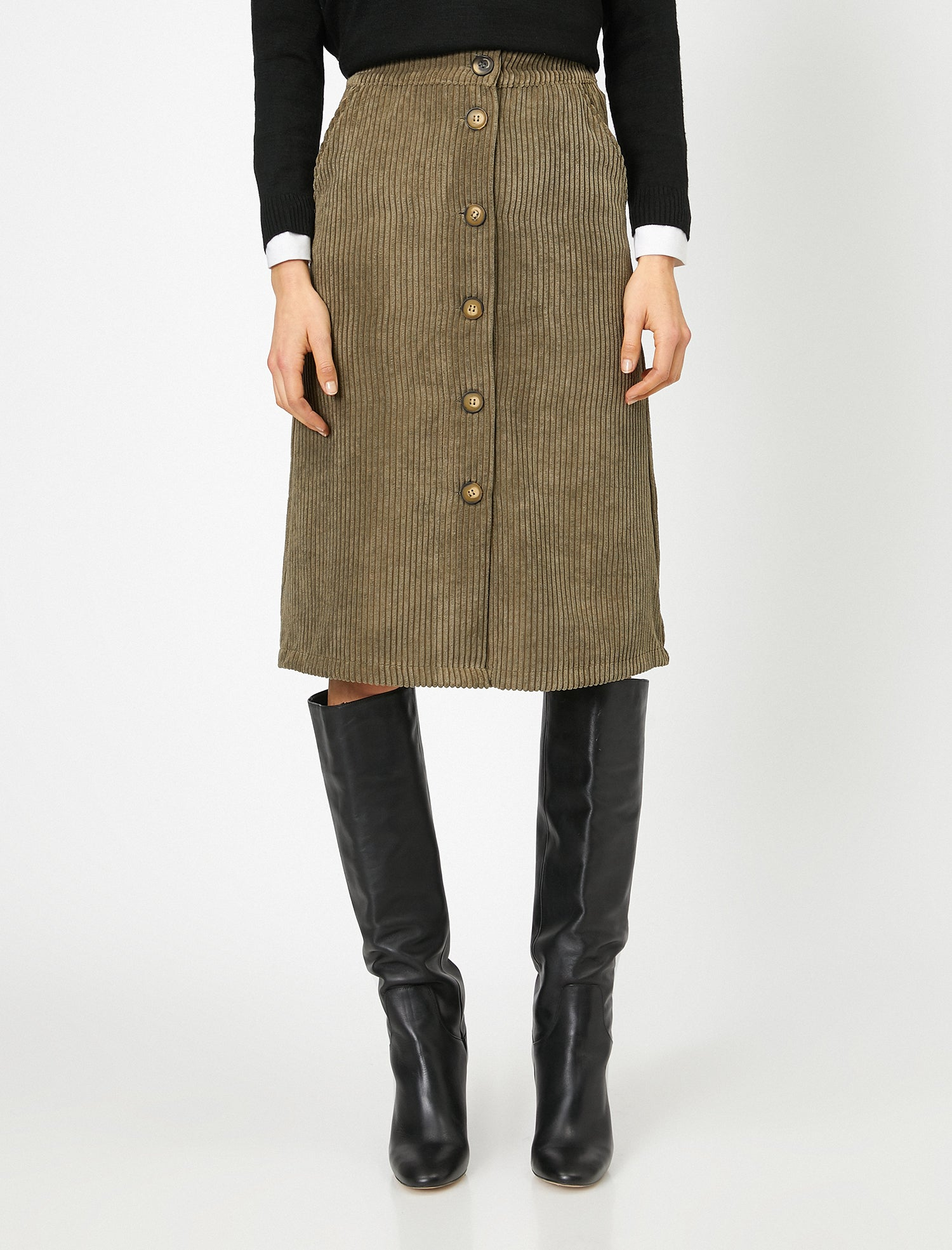 Front Button Cord Skirt in Dark Olive