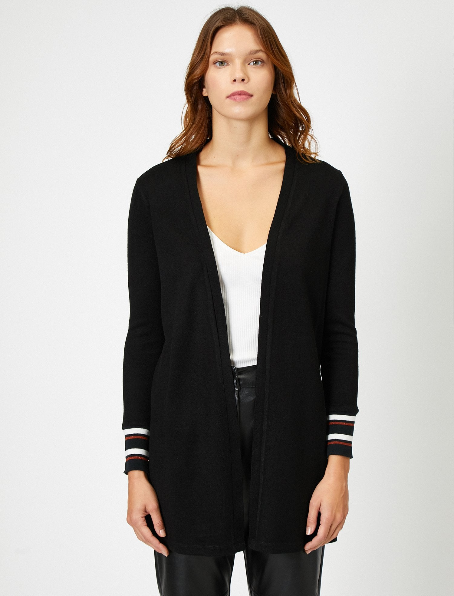 Cuffed Striped Cardigan in Black
