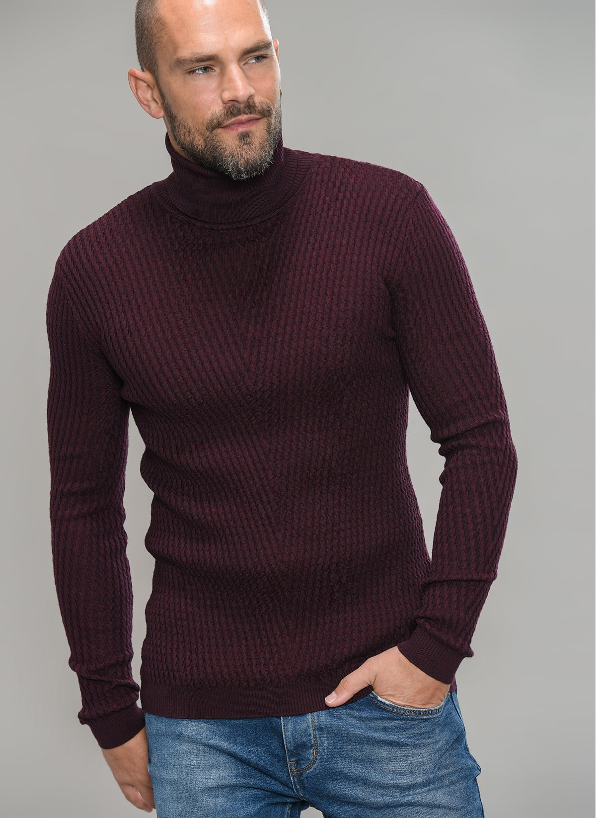 Textured Turtle Neck Sweater