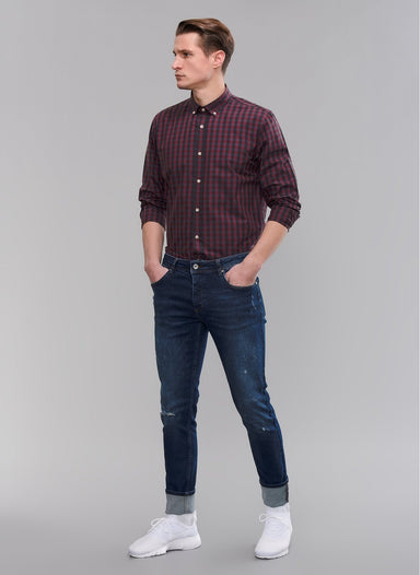 Checked Button-Down Shirt in Burgundy