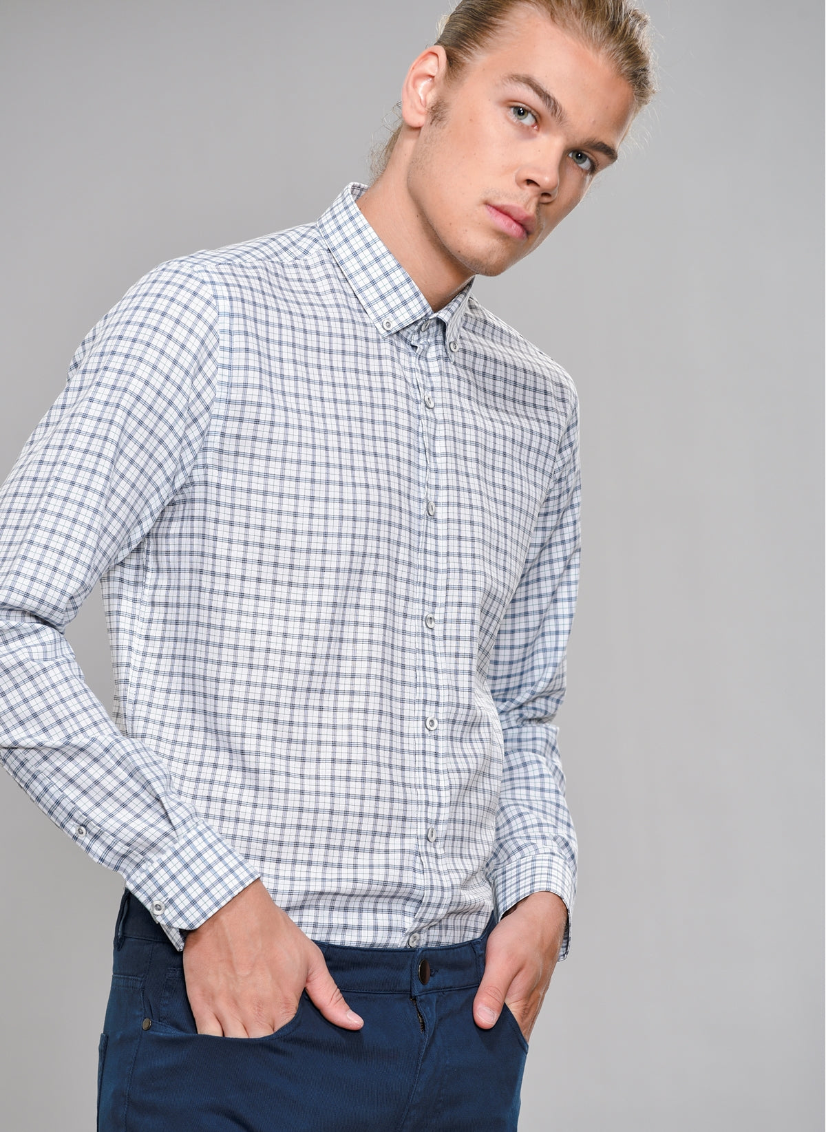 Tartan Button-Down Shirt in Navy