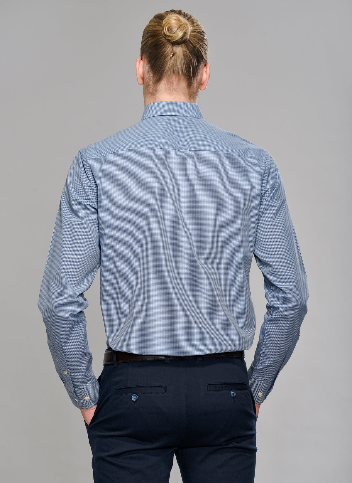 Pin Check Shirt in Navy