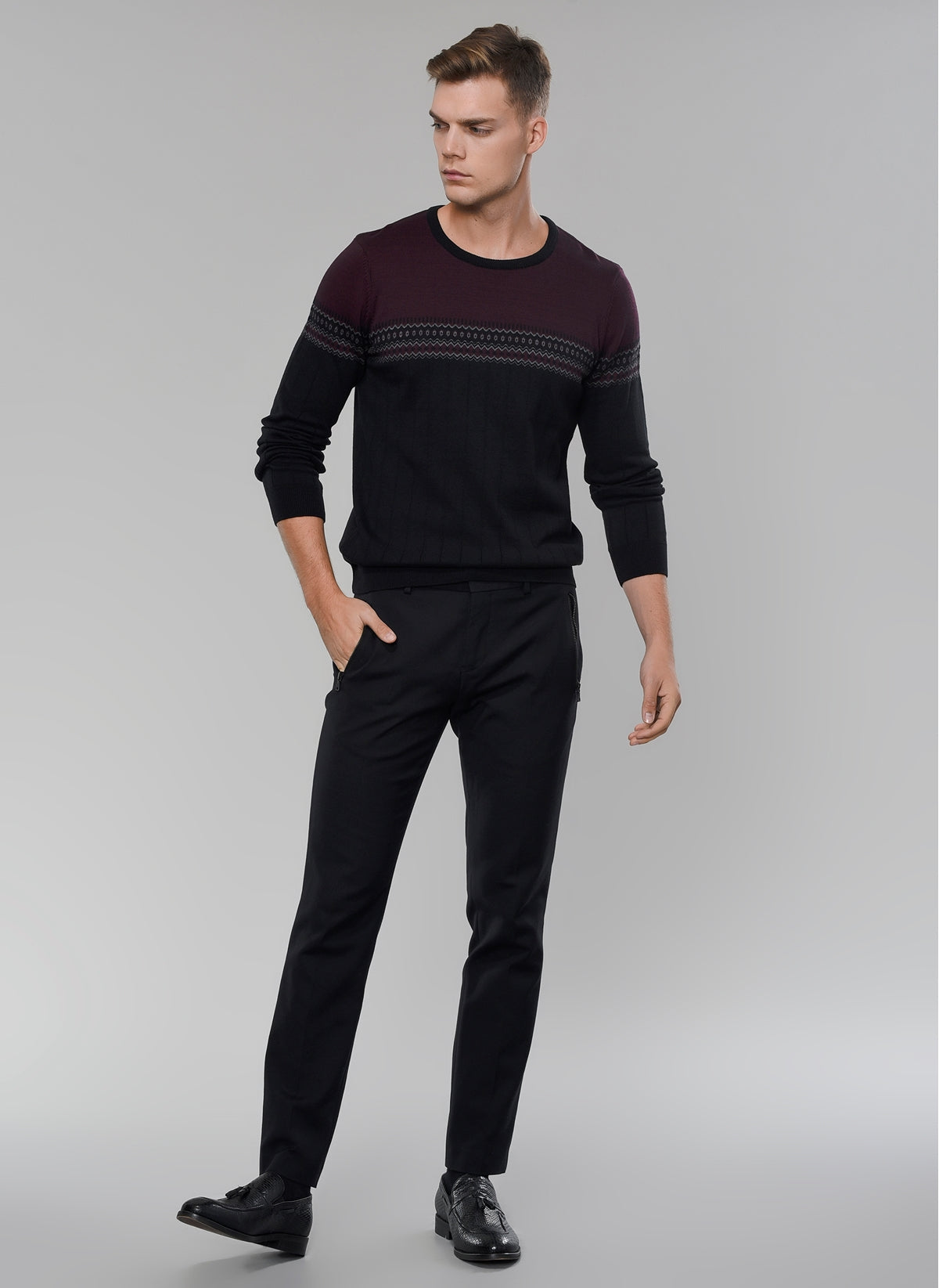 Jacquard Crew Neck Sweater
