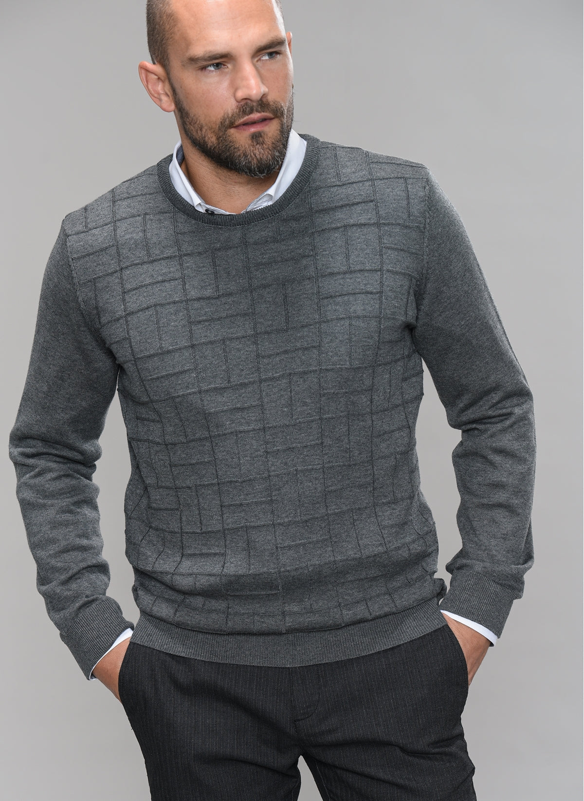 Patterned-Front Sweater