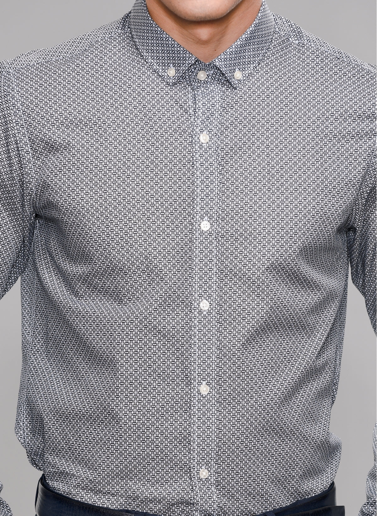 Printed Button-Down Shirt in Black