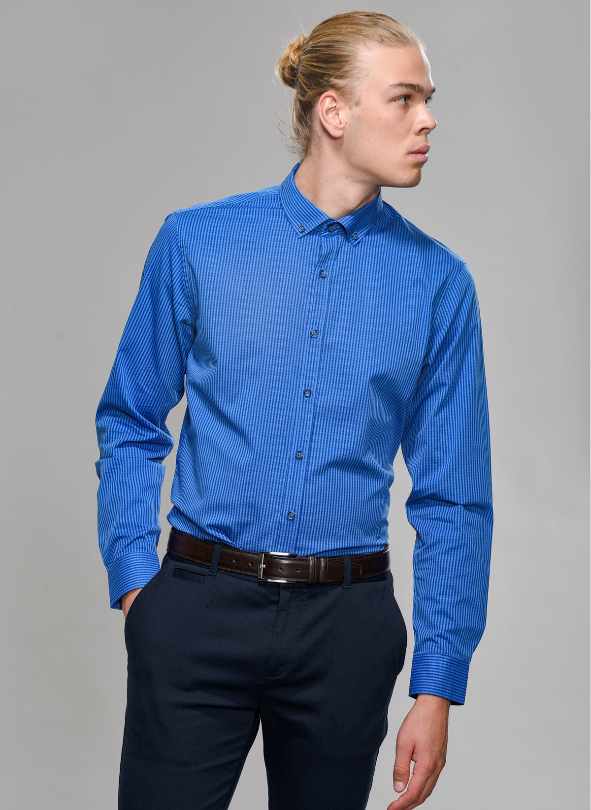 Pin Check Shirt in Blue