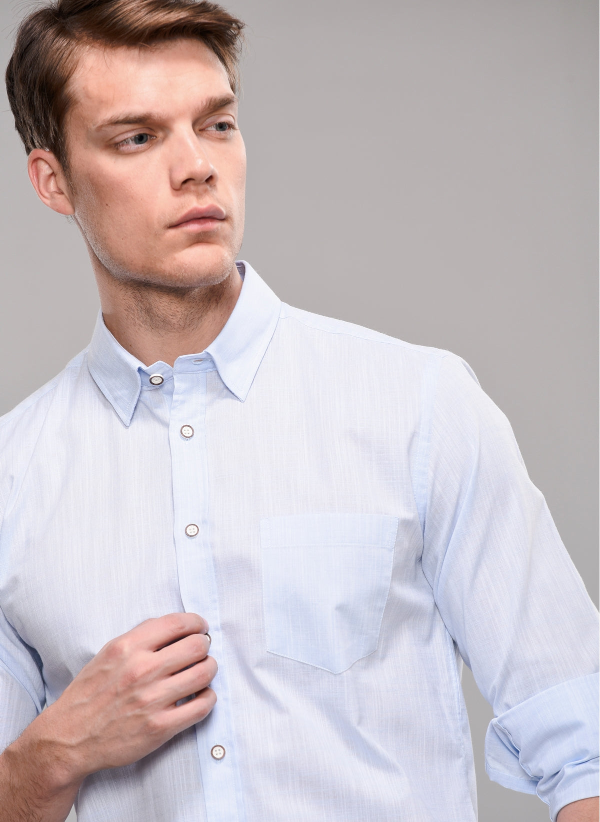 Pin Check Concealed Collar Shirt in Light Blue