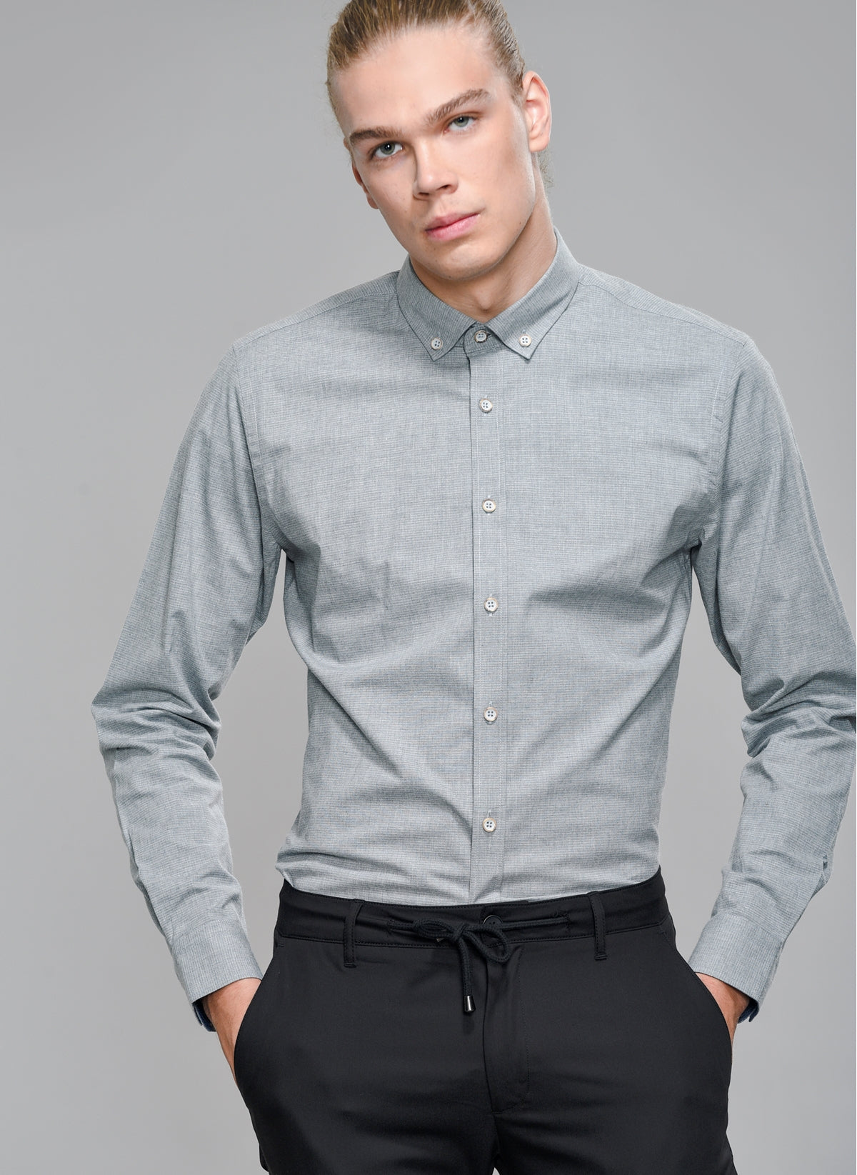 Textured Stretch Shirt in Grey