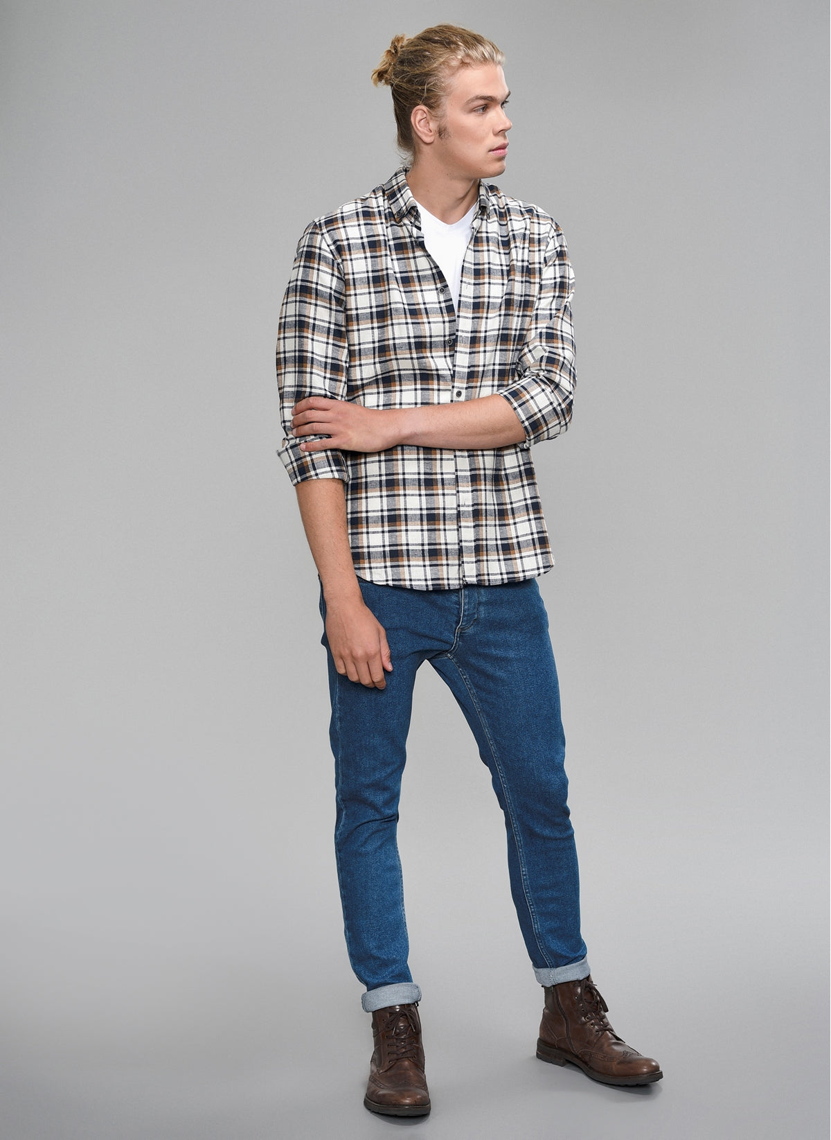Plaid Button-Down Shirt in Navy