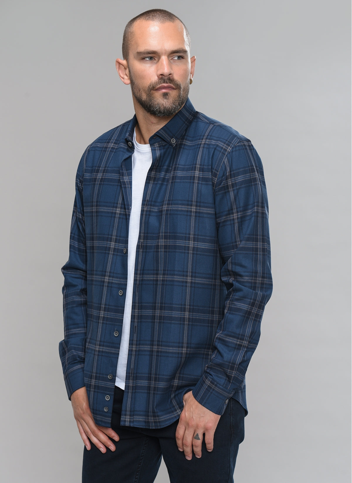 Plaid Button-Down Shirt in Indigo Blue