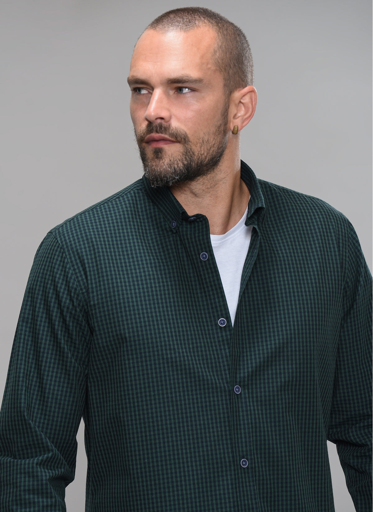 Gingham Button-Down Shirt in Green
