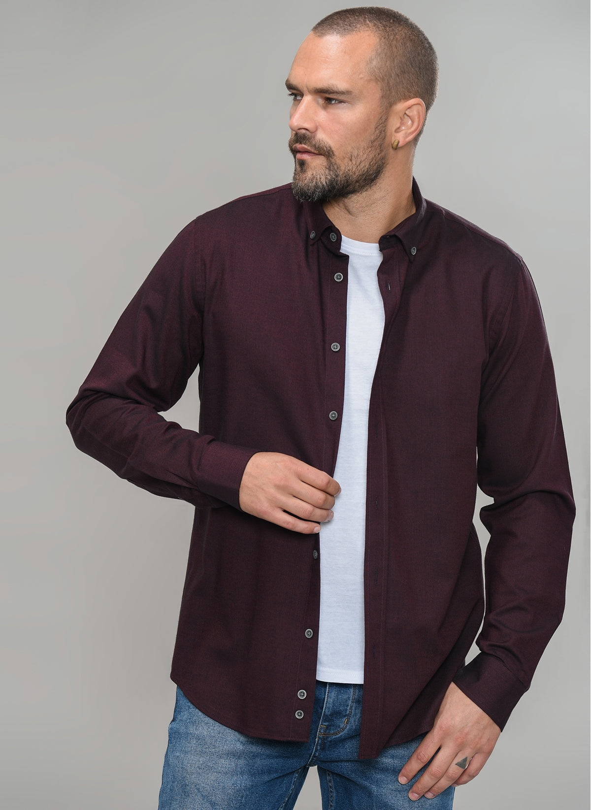 Solid Button-Down Shirt in Burgundy