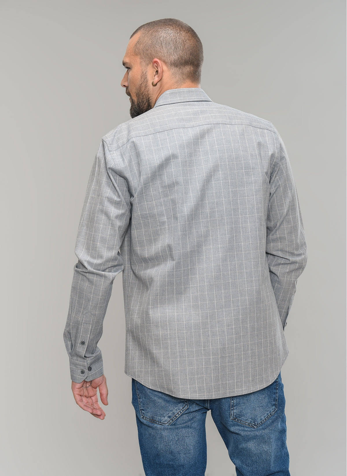 Graph Checked Button-Down Shirt in Grey