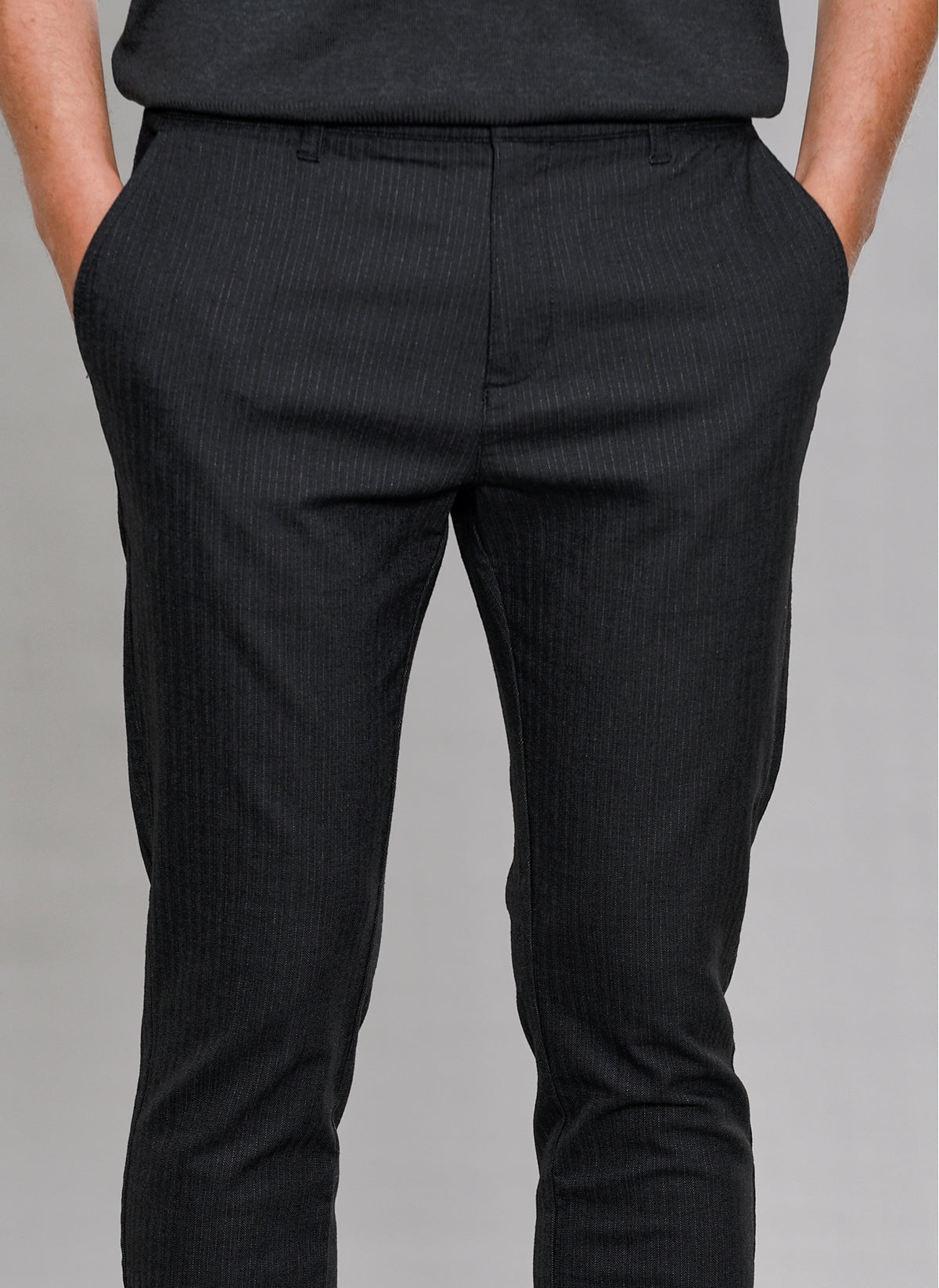 Pinstripe Casual Pants in Charcoal