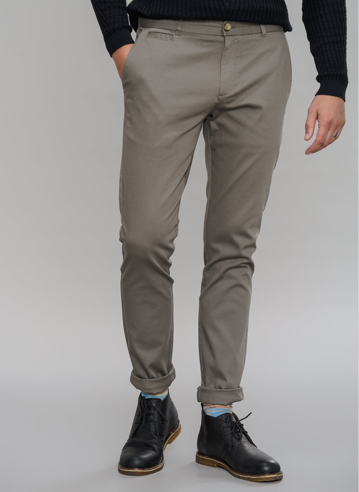 Slim Fit Chino Pants in Taupe