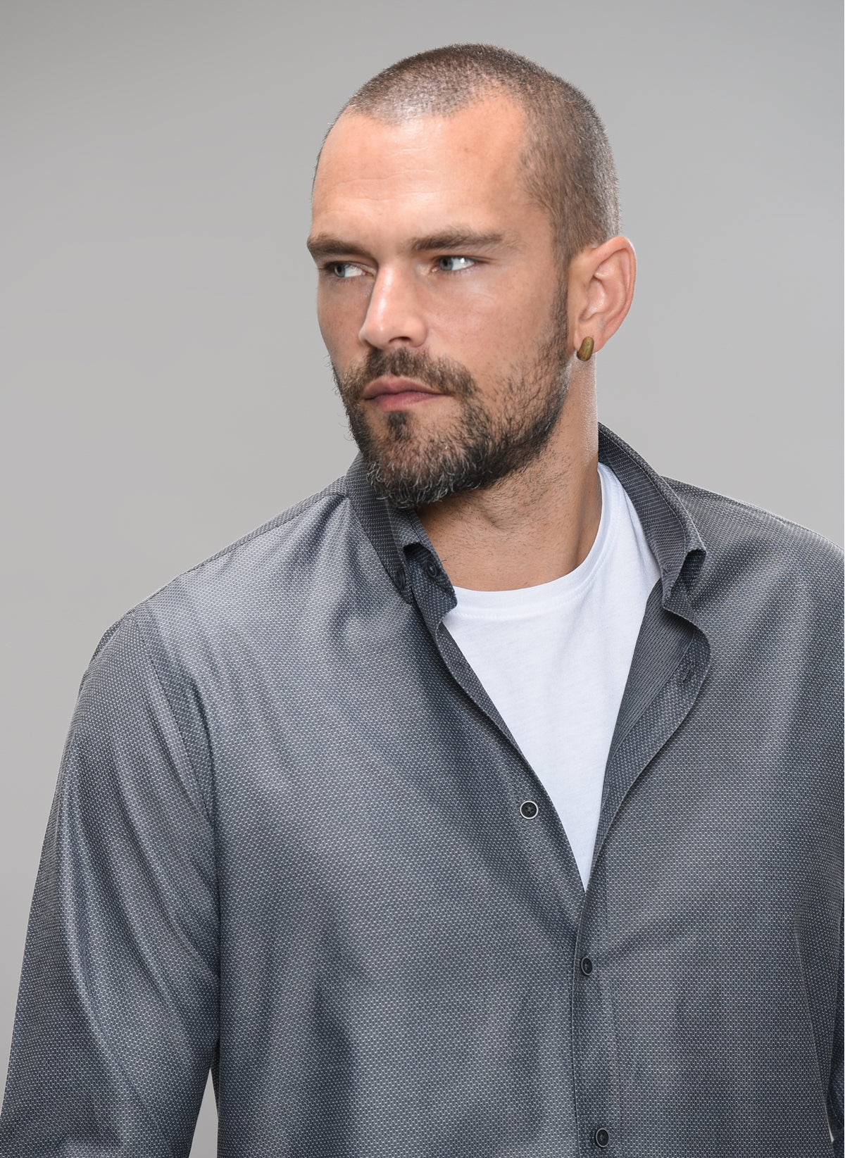 Textured Button-Down Shirt in Grey