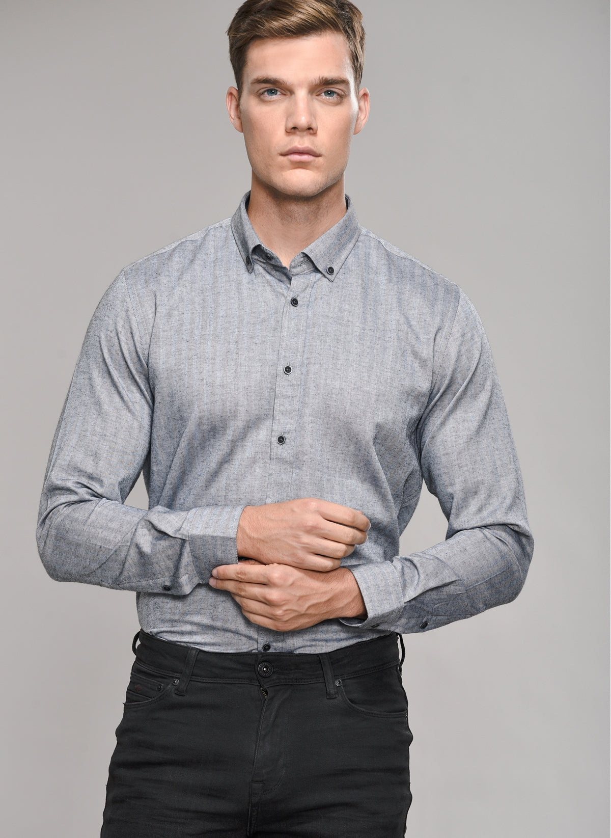Herringbone Button-Down Shirt in Grey