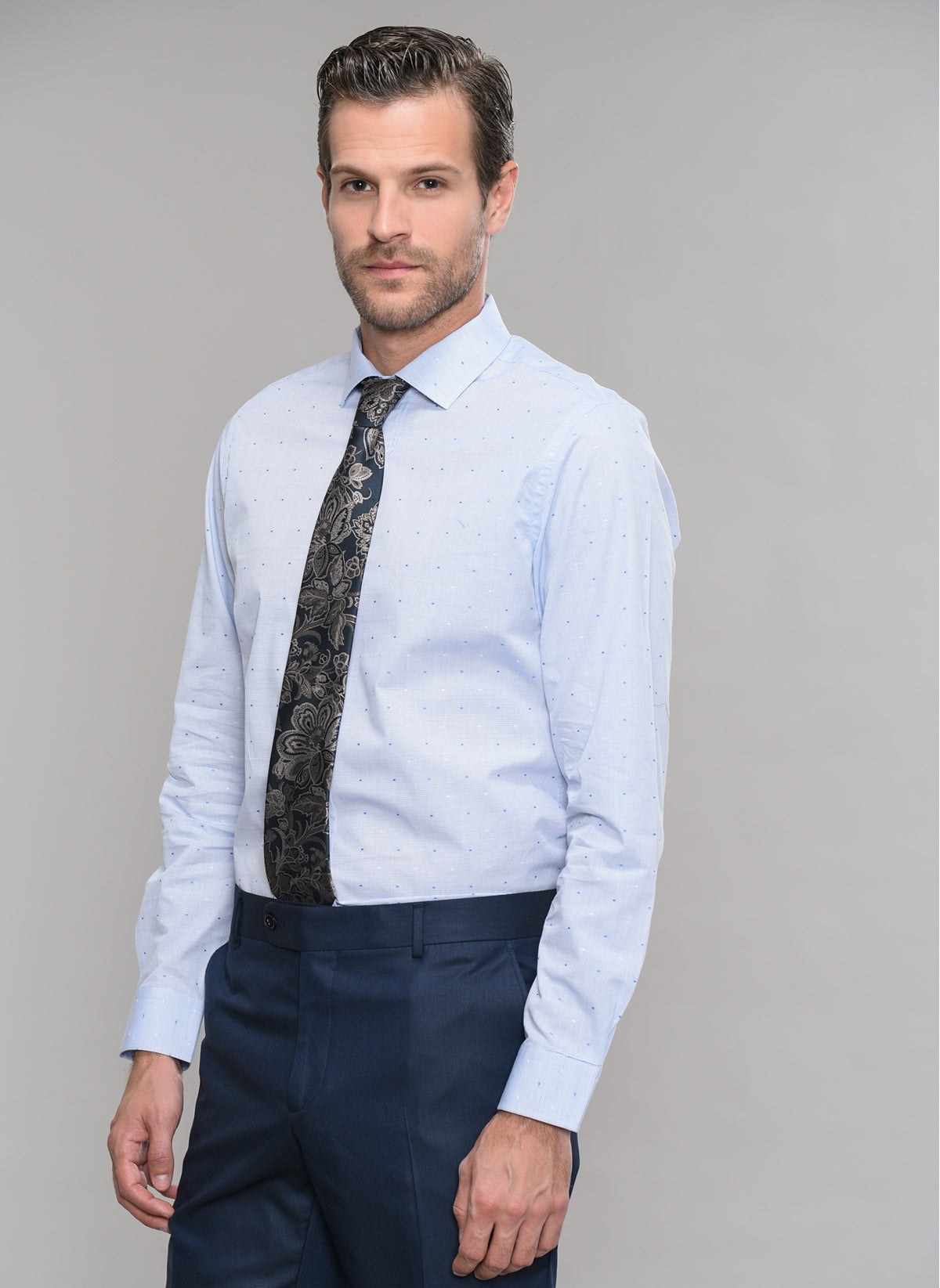 Patterned Dress Shirt in Light Blue