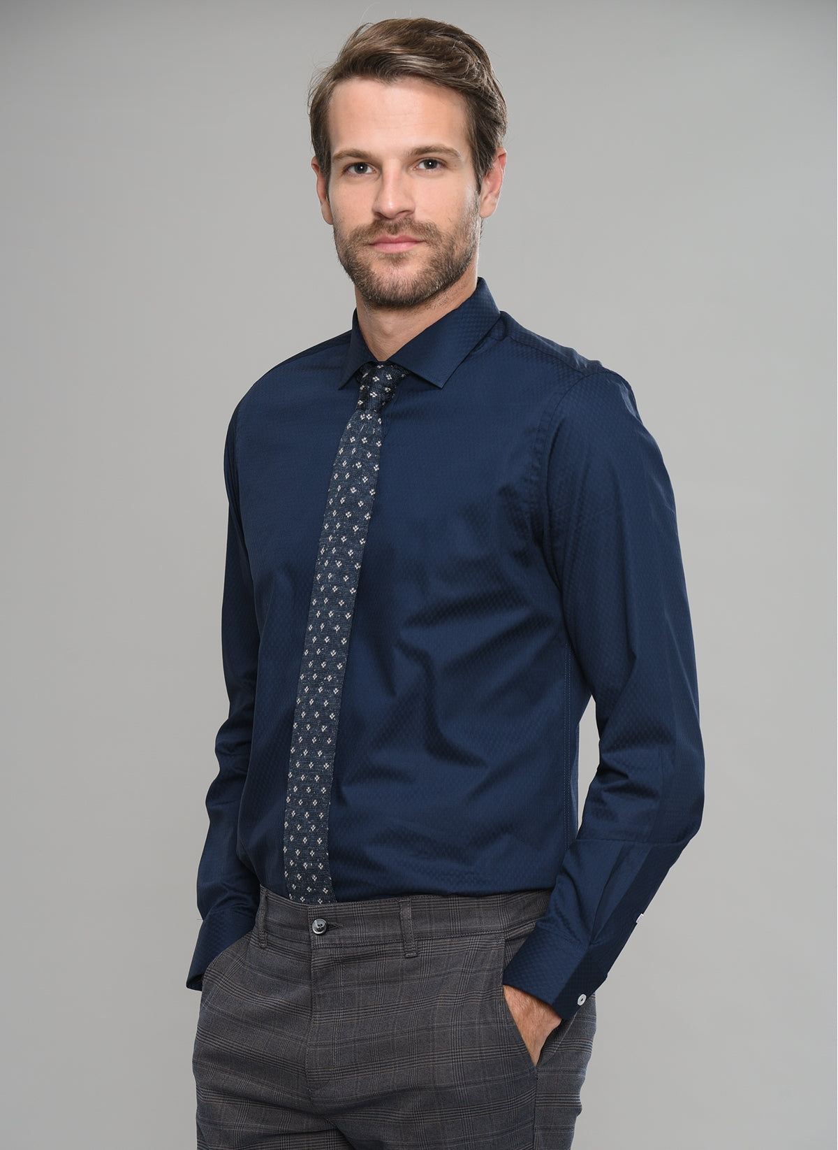 Patterned Dress Shirt in Navy