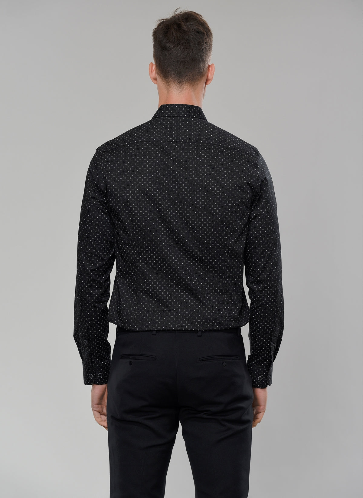 Printed Stretch Shirt in Black