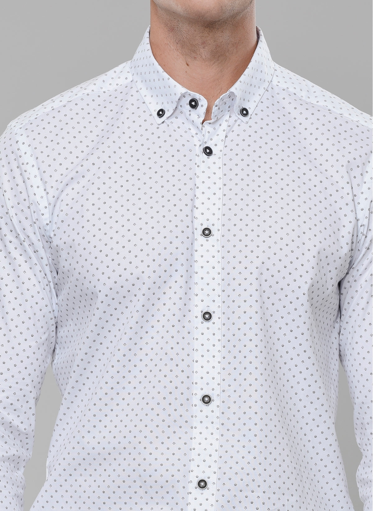Printed Stretch Shirt in White