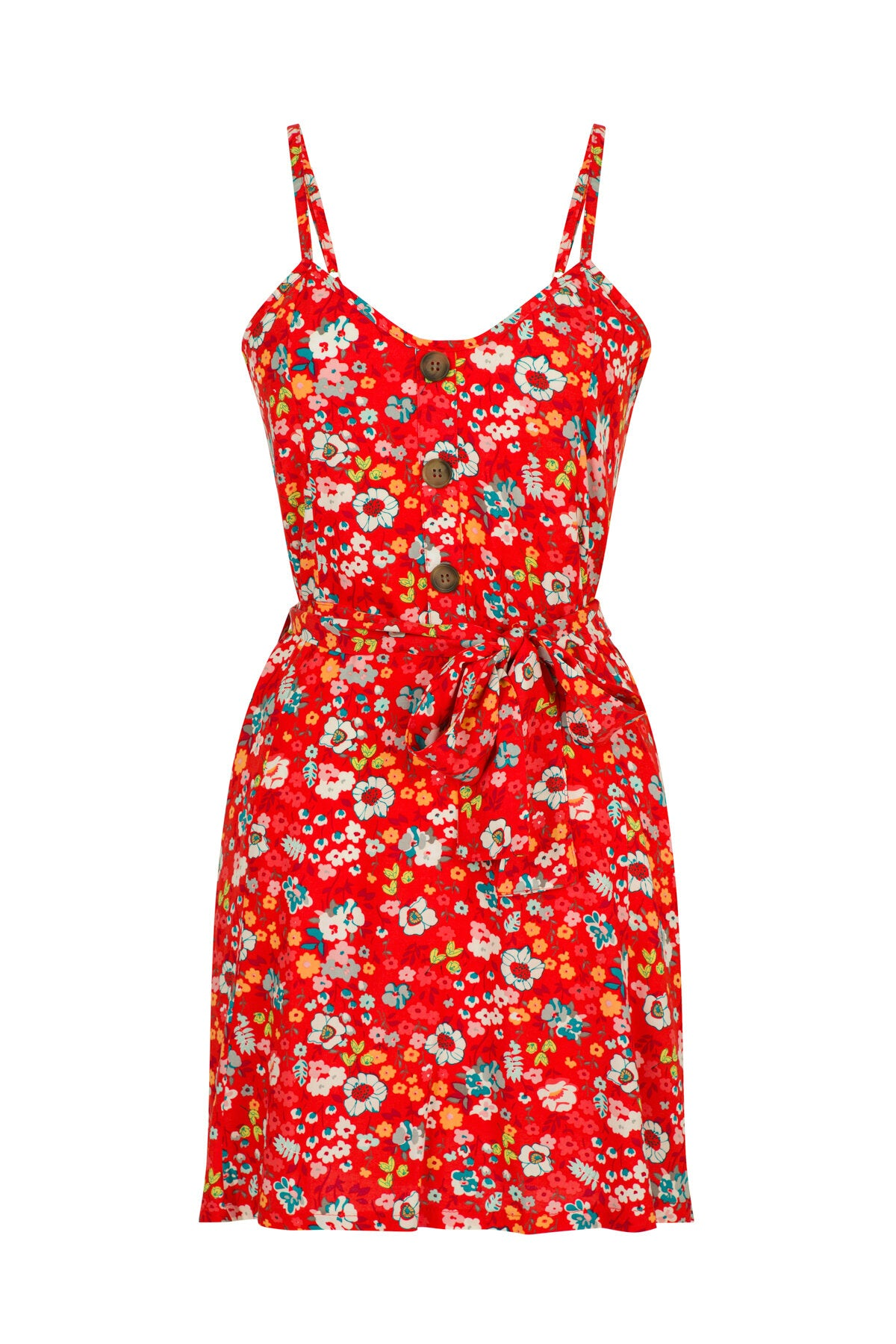 FIT & FLARE CAMI MINI DRESS IN FLORAL RED