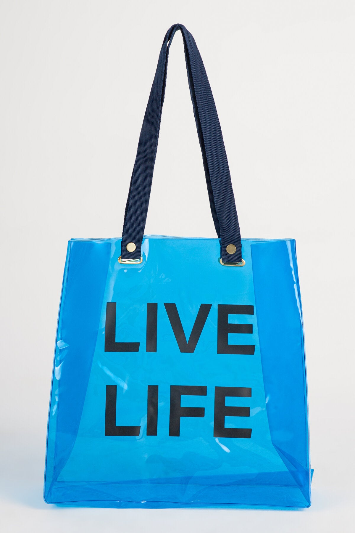 BEACH TOTE IN NEON BLUE