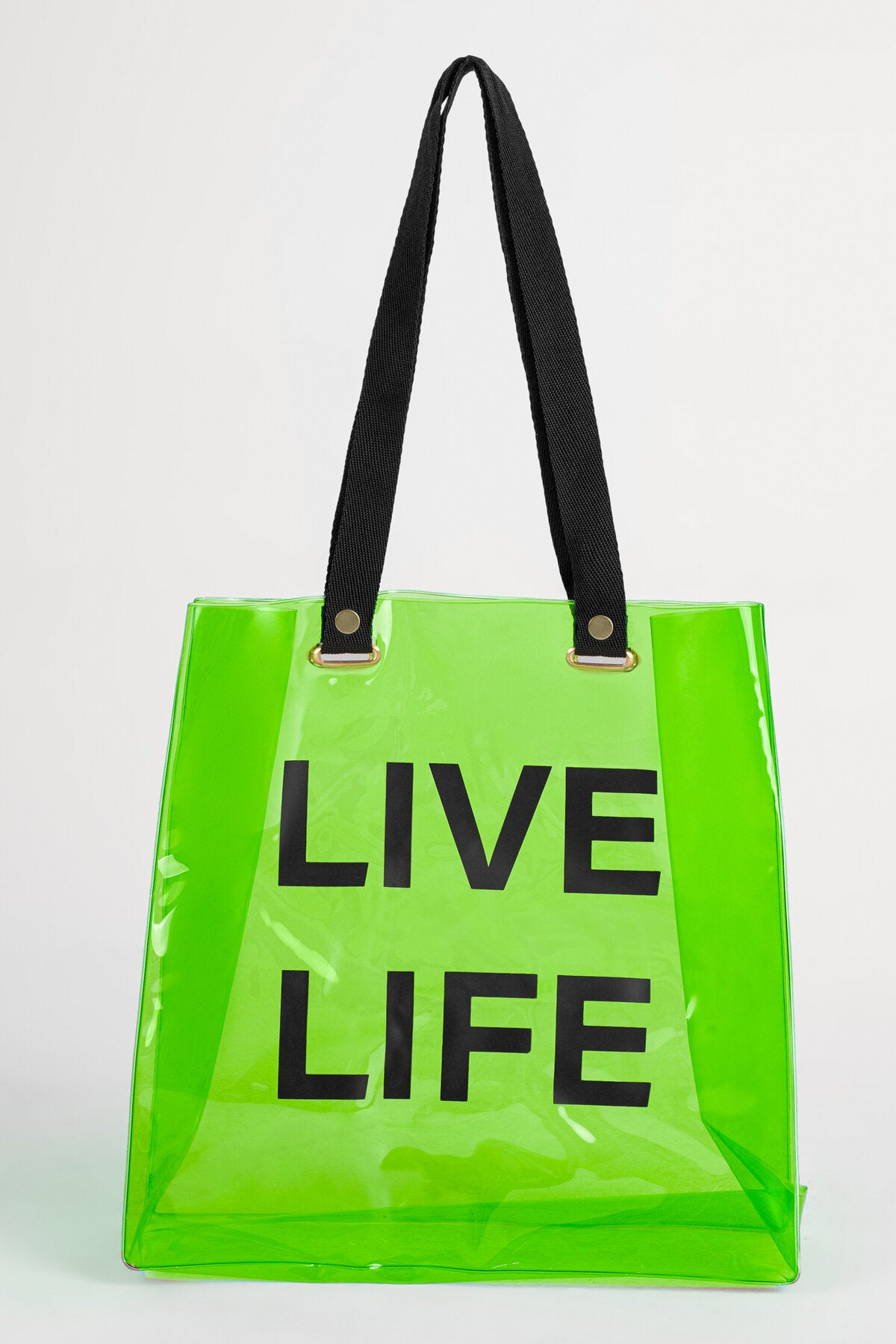 BEACH TOTE IN NEON GREEN