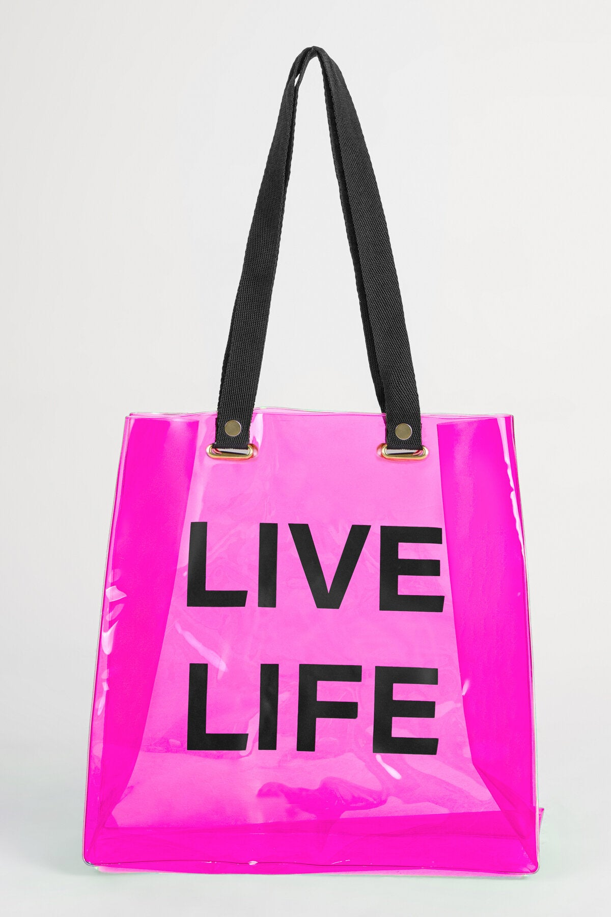BEACH TOTE IN NEON PINK