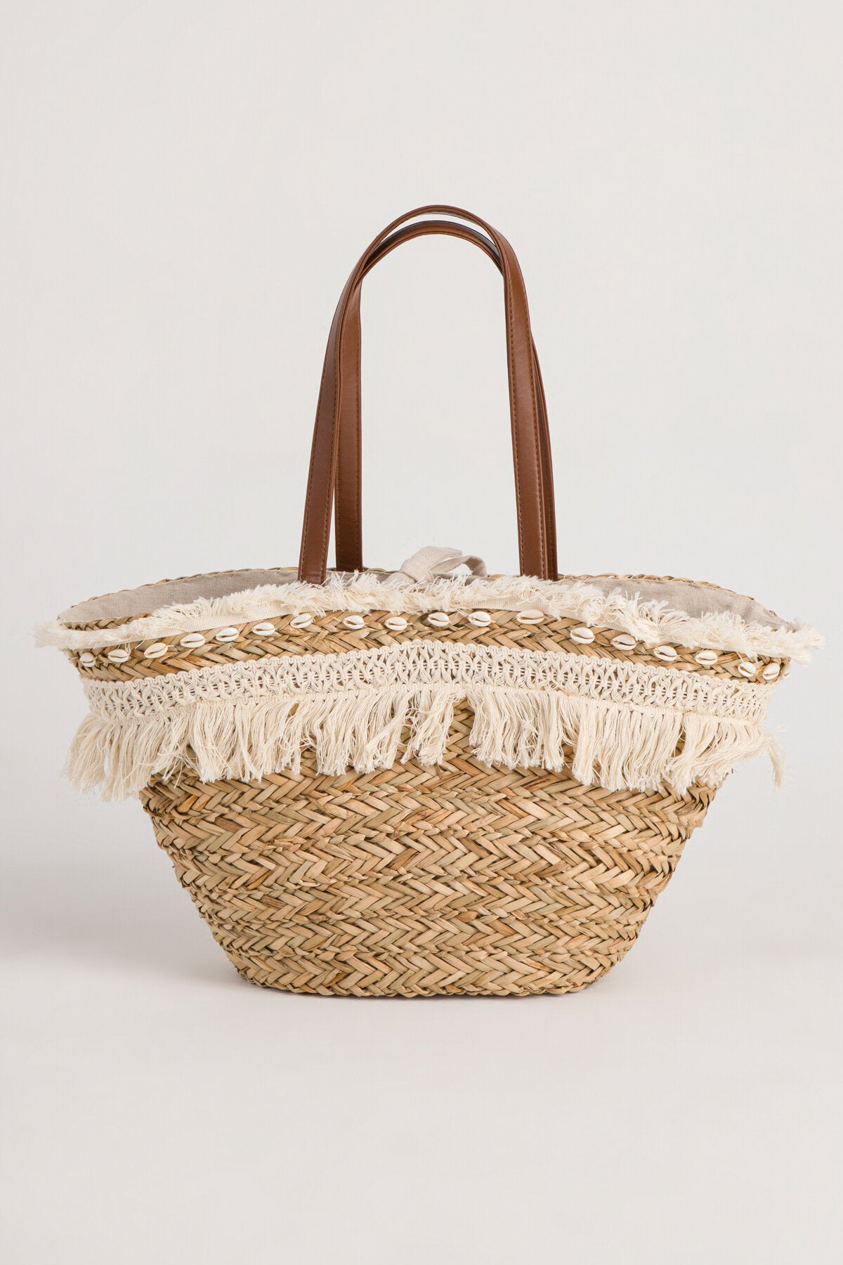 SHELL STRAW BEACH TOTE