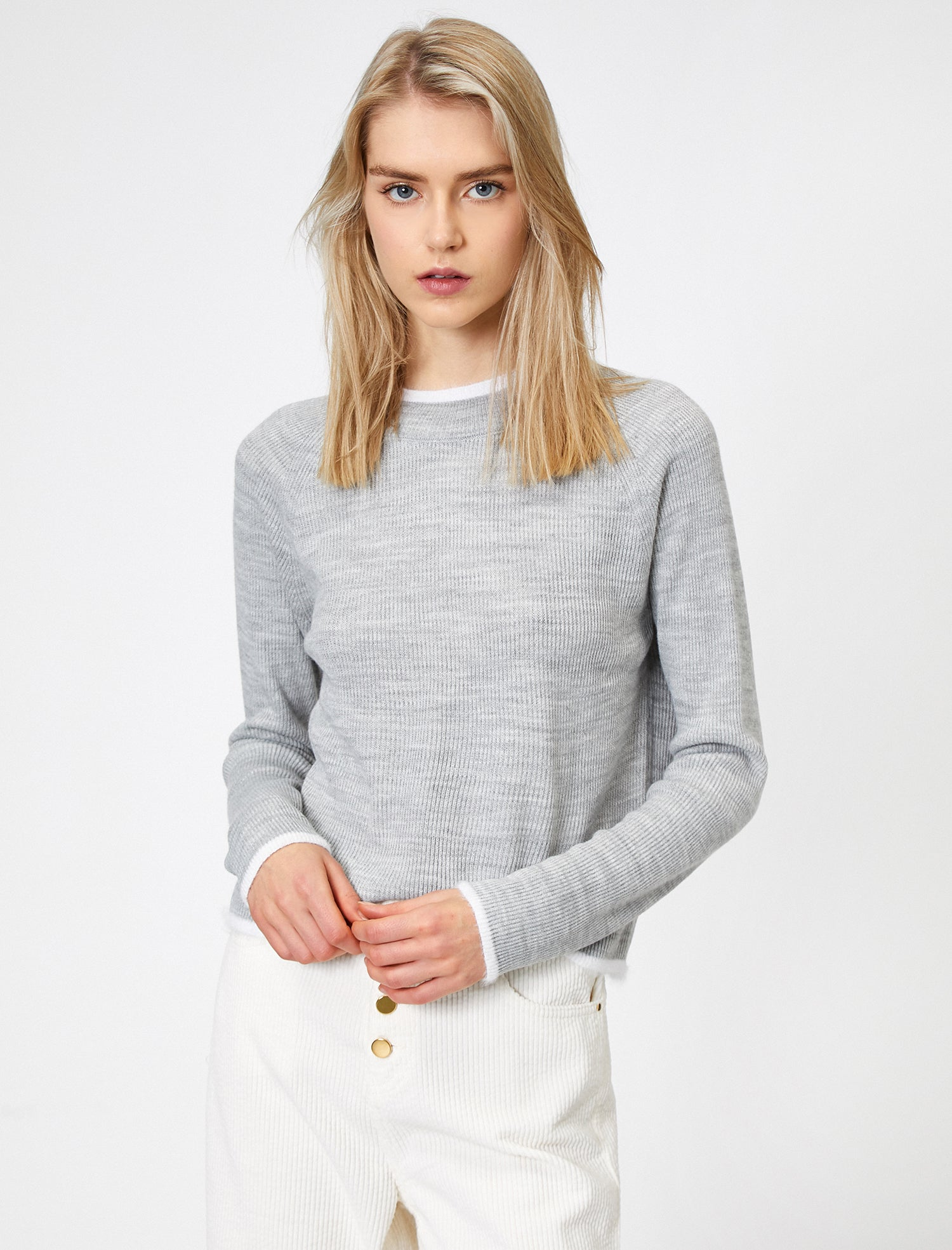 Ribbed Crew Neck Sweater in Grey Heather