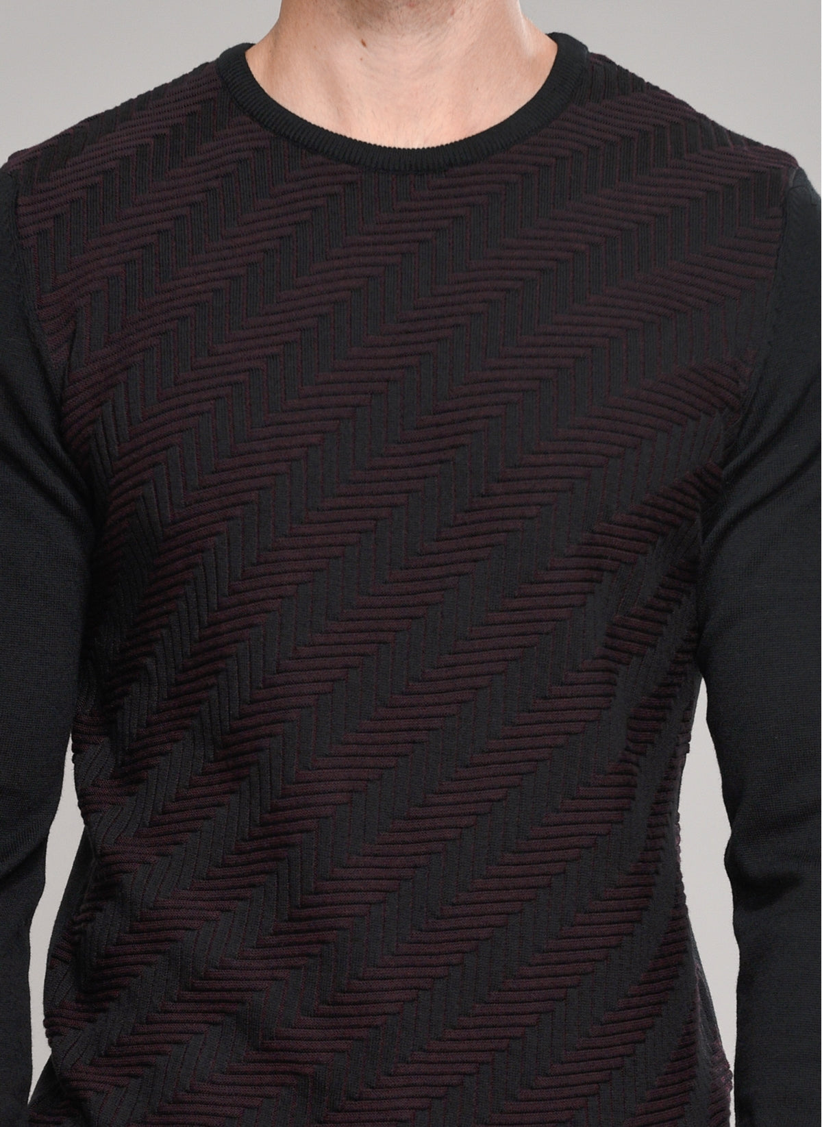 Patterned-Front Sweater in Dark Brown