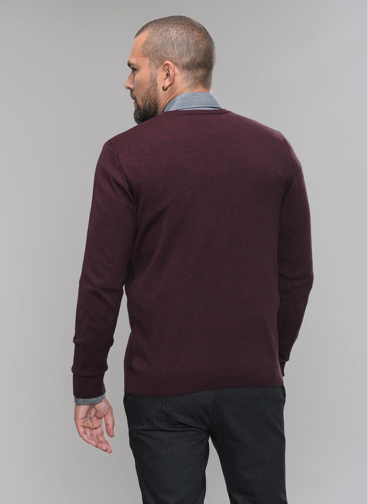 Textured-Front Sweater in Burgundy Heather