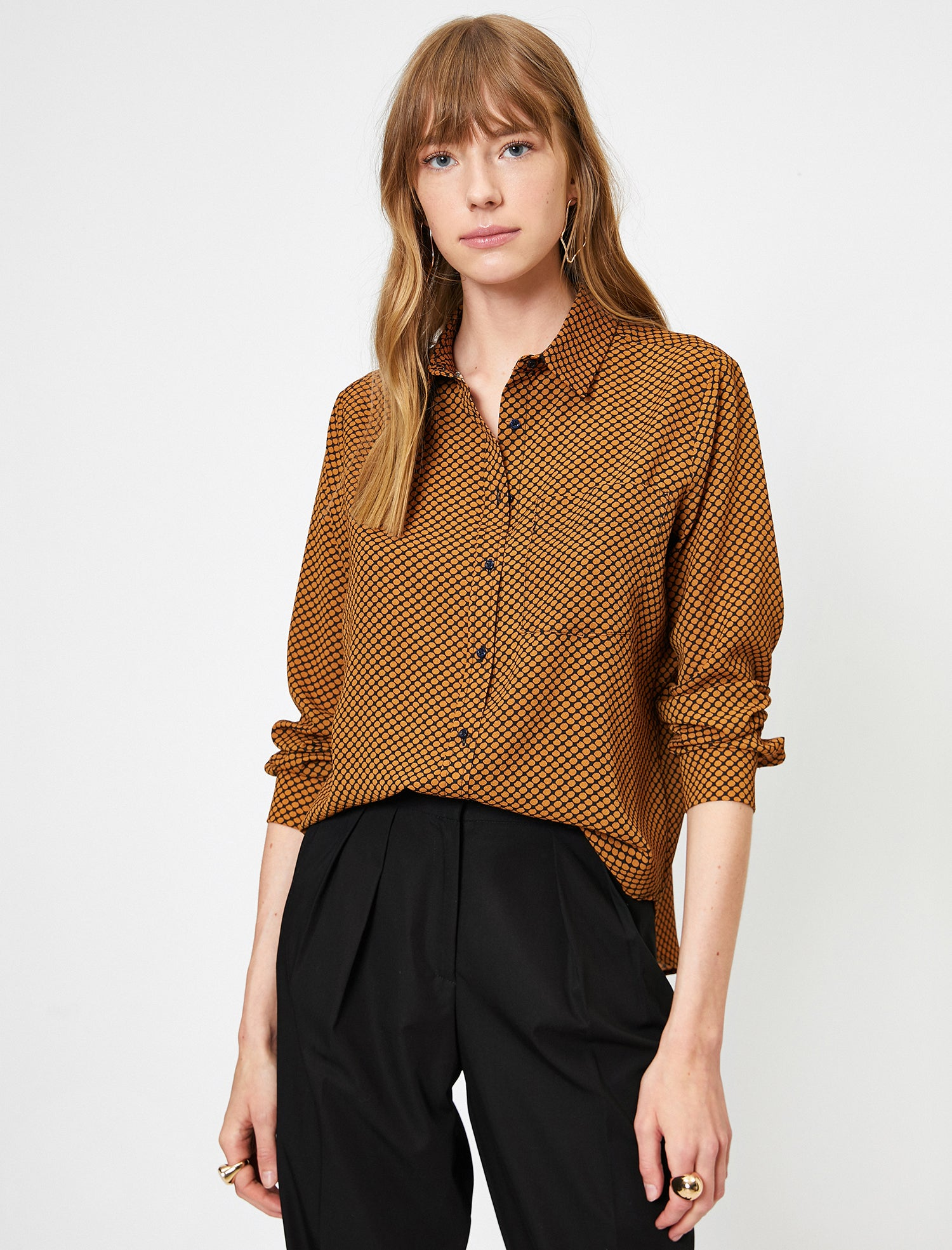 WOMEN BLOUSES MUSTARD PATTERNED