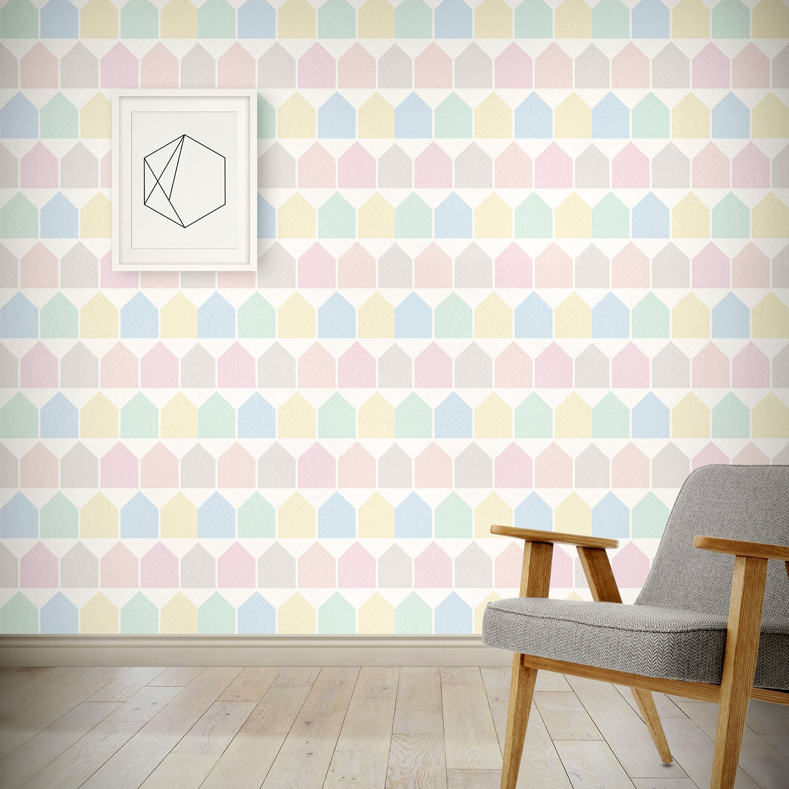 Beach Huts Wallpaper - Pastel