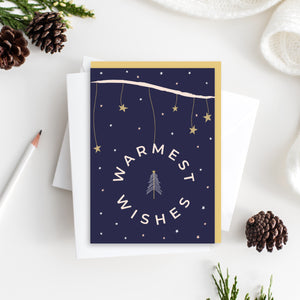 Warmest Wishes Christmas Card - Blank Inside - Recycled