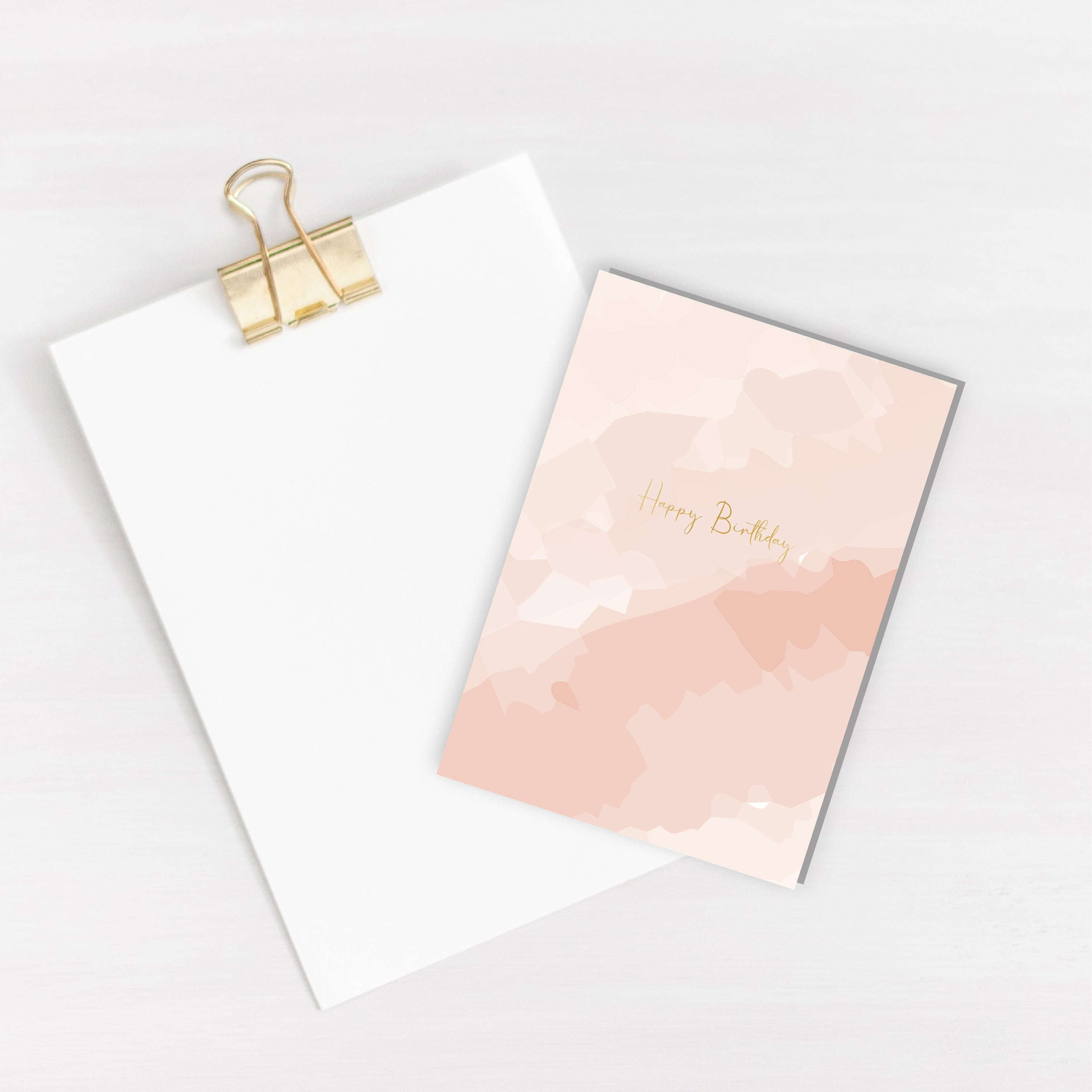 Happy Birthday Watercolour Gold Foiled Card